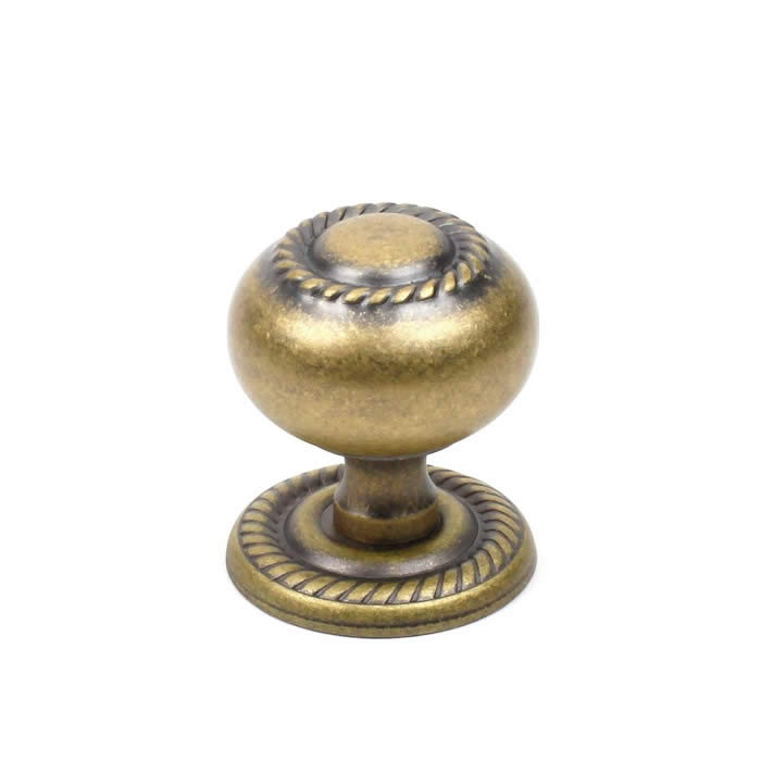 "Saturn 1-1/4"" hollow brass knob/back plate: aged english"